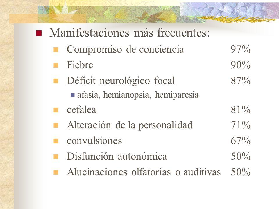 Manifestaciones más frecuentes: Compromiso de conciencia97% Fiebre90% Déficit neurológico focal87% afasia, hemianopsia, hemiparesia cefalea81% Alterac