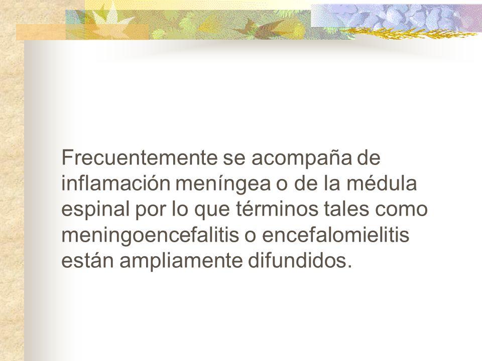 Frecuentemente se acompaña de inflamación meníngea o de la médula espinal por lo que términos tales como meningoencefalitis o encefalomielitis están a