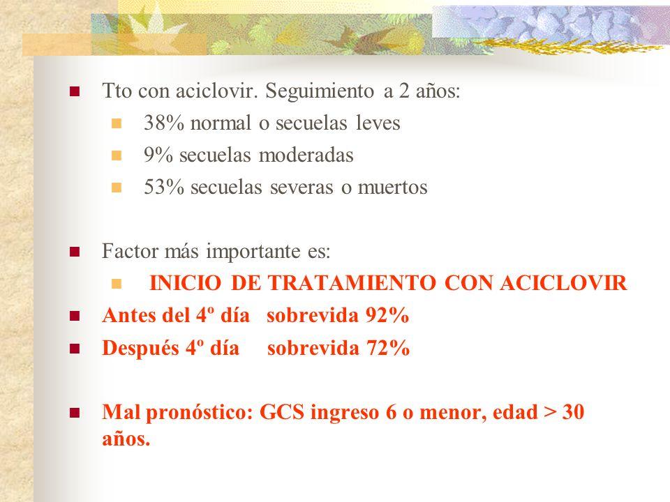 Tto con aciclovir. Seguimiento a 2 años: 38% normal o secuelas leves 9% secuelas moderadas 53% secuelas severas o muertos Factor más importante es: IN