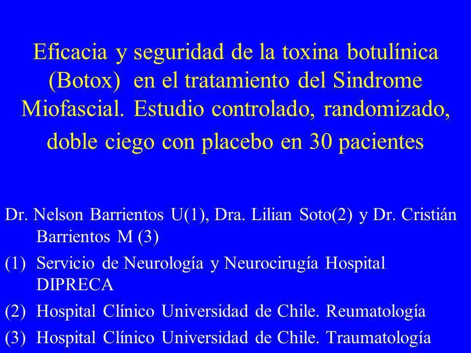 Eficacia y seguridad de la toxina botulínica (Botox) en el tratamiento del Sindrome Miofascial. Estudio controlado, randomizado, doble ciego con place
