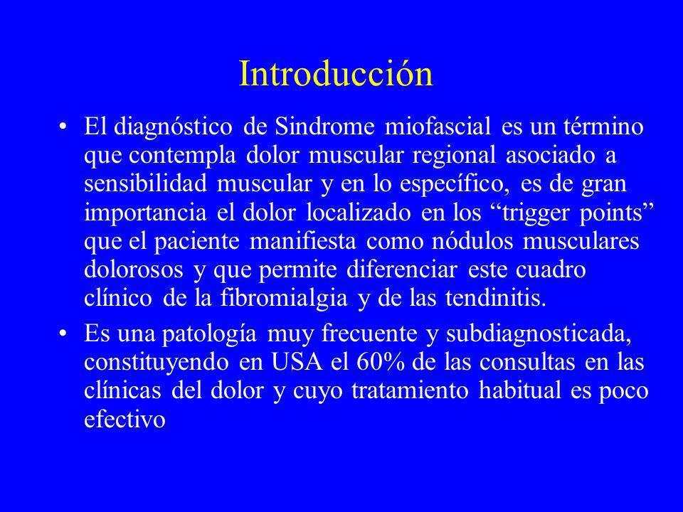 Introducción El diagnóstico de Sindrome miofascial es un término que contempla dolor muscular regional asociado a sensibilidad muscular y en lo especí
