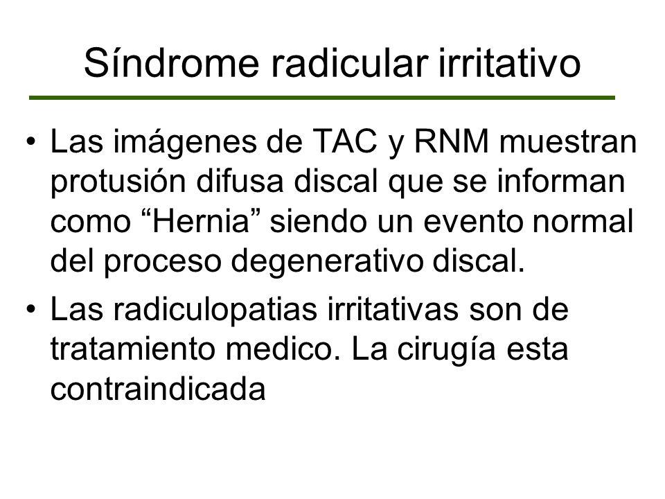 Las imágenes de TAC y RNM muestran protusión difusa discal que se informan como Hernia siendo un evento normal del proceso degenerativo discal. Las ra