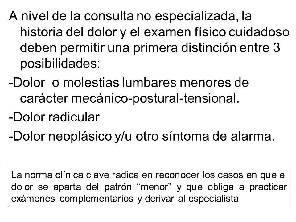 Se debe distinguir entre: -Lumbociática radicular irritativa -Lumbociática radicular compresiva En la primera la alteración tisular es bioquímica y en la segunda es biomecánica, lo que significa un conflicto continente-contenido con compresión neural