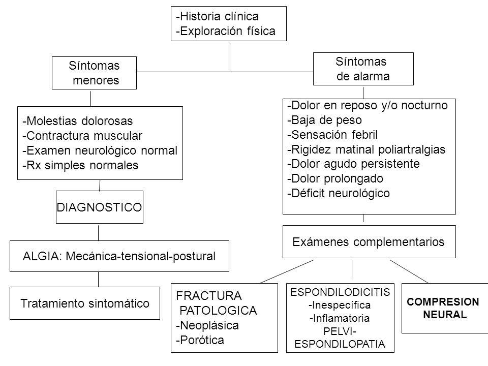 Diagnóstico sindromático 1.Síndrome de dolor lumbar puro 2.Síndrome de dolor lumbociático 3.Síndrome de dolor claudicación neural intermitente 4.Síndrome de dolor lumbar atípico