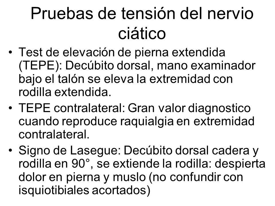 Test de elevación de pierna extendida (TEPE): Decúbito dorsal, mano examinador bajo el talón se eleva la extremidad con rodilla extendida. TEPE contra
