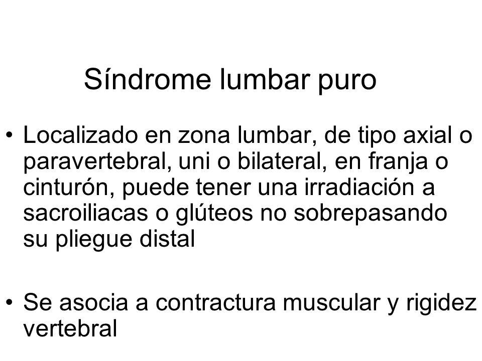 A la lumbalgia descrita se agrega una irradiación que sobrepasa el pliegue glúteo.