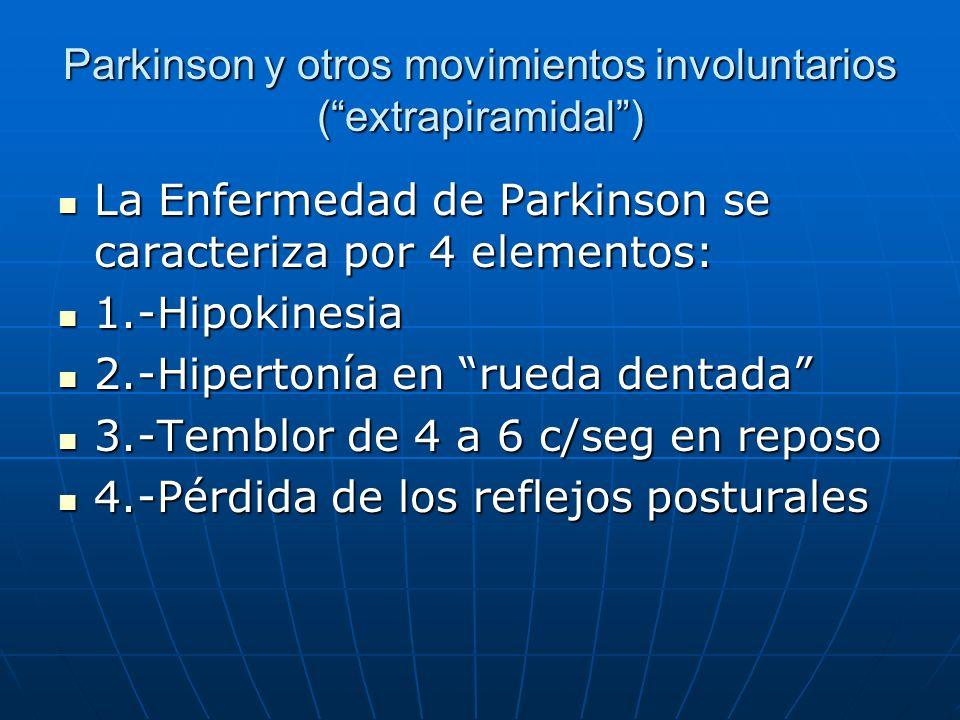 Parkinson y otros movimientos involuntarios (extrapiramidal) La Enfermedad de Parkinson se caracteriza por 4 elementos: La Enfermedad de Parkinson se