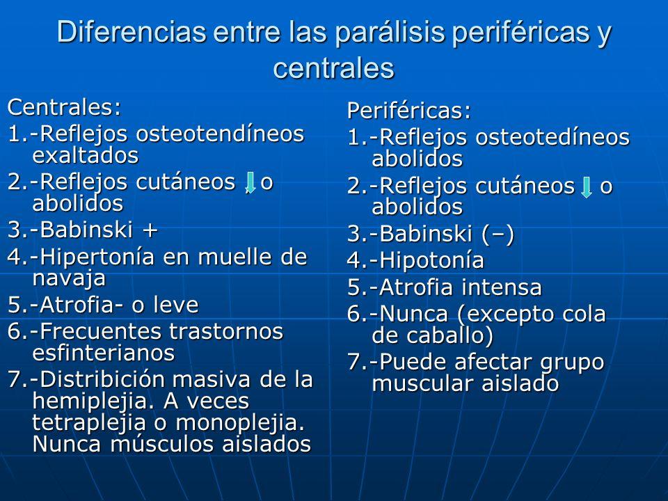 Diferencias entre las parálisis periféricas y centrales Centrales: 1.-Reflejos osteotendíneos exaltados 2.-Reflejos cutáneos, o abolidos 3.-Babinski +