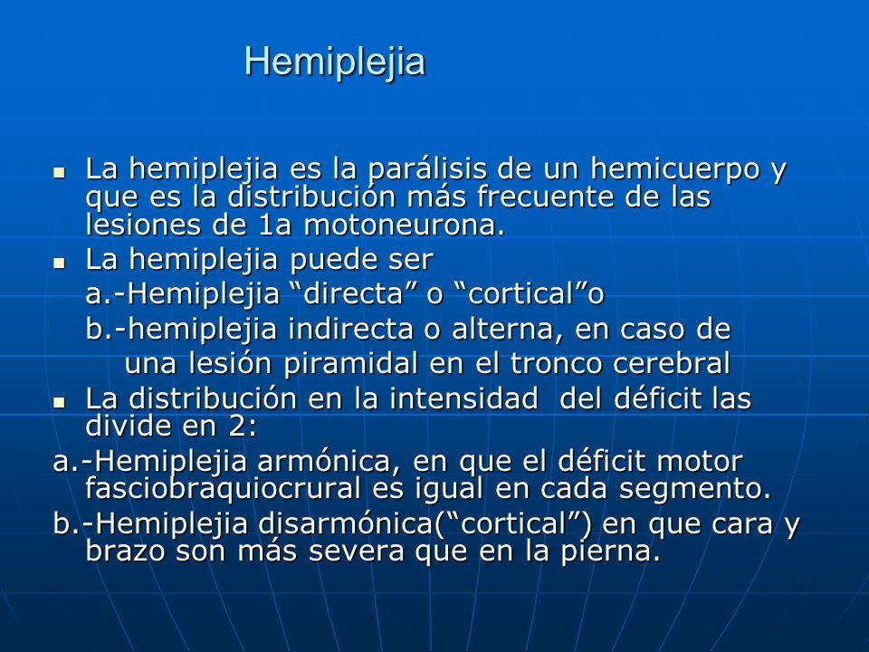 Hemiplejia La hemiplejia es la parálisis de un hemicuerpo y que es la distribución más frecuente de las lesiones de 1a motoneurona. La hemiplejia es l