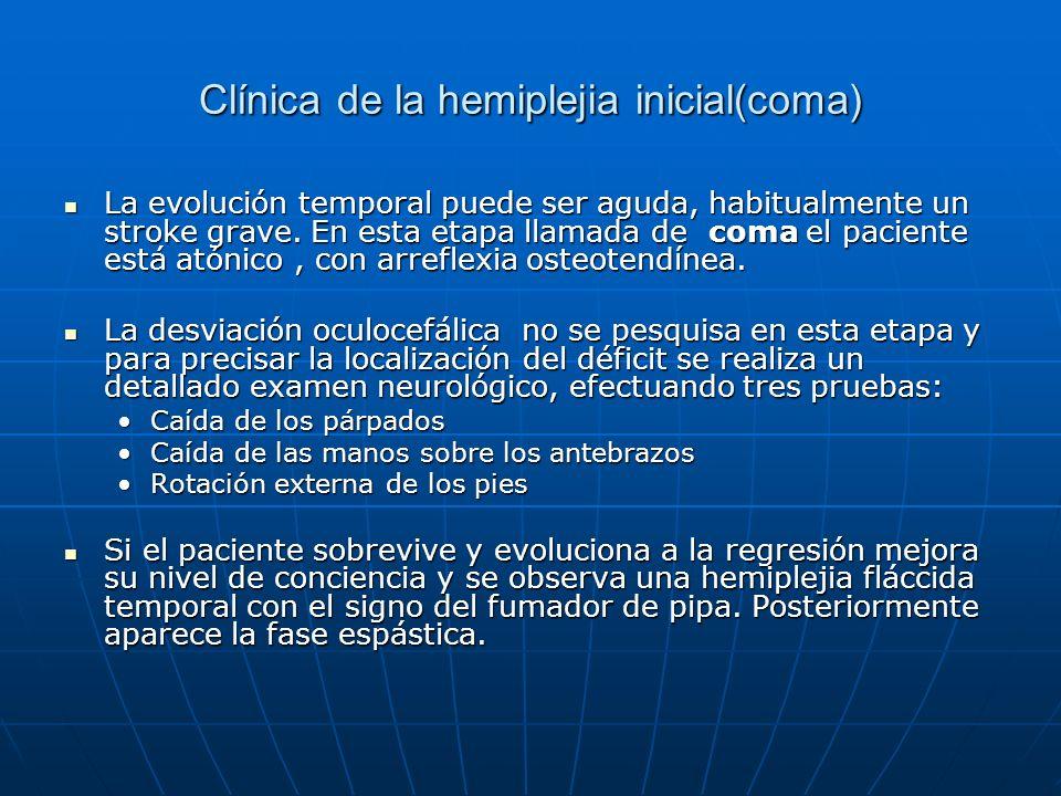 Clínica de la hemiplejia inicial(coma) La evolución temporal puede ser aguda, habitualmente un stroke grave. En esta etapa llamada de coma el paciente