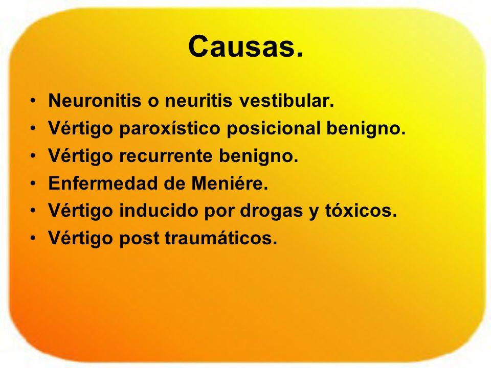 Causas. Neuronitis o neuritis vestibular. Vértigo paroxístico posicional benigno. Vértigo recurrente benigno. Enfermedad de Meniére. Vértigo inducido