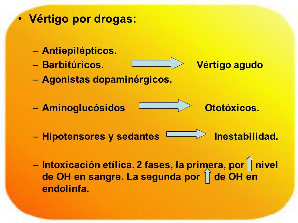Vértigo por drogas: –Antiepilépticos. –Barbitúricos. Vértigo agudo –Agonistas dopaminérgicos. –Aminoglucósidos Ototóxicos. –Hipotensores y sedantes In