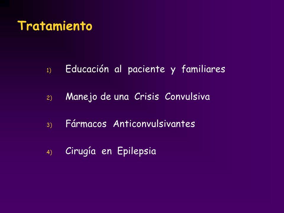 1) Educación al paciente y familiares 2) Manejo de una Crisis Convulsiva 3) Fármacos Anticonvulsivantes 4) Cirugía en Epilepsia