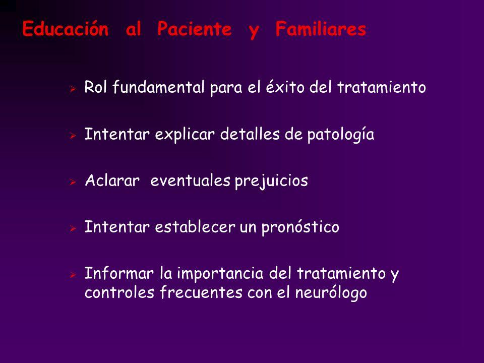Educación al Paciente y Familiares Rol fundamental para el éxito del tratamiento Intentar explicar detalles de patología Aclarar eventuales prejuicios