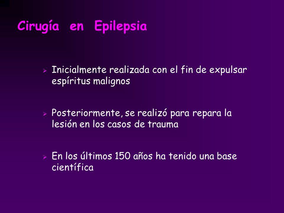 Cirugía en Epilepsia Inicialmente realizada con el fin de expulsar espíritus malignos Posteriormente, se realizó para repara la lesión en los casos de