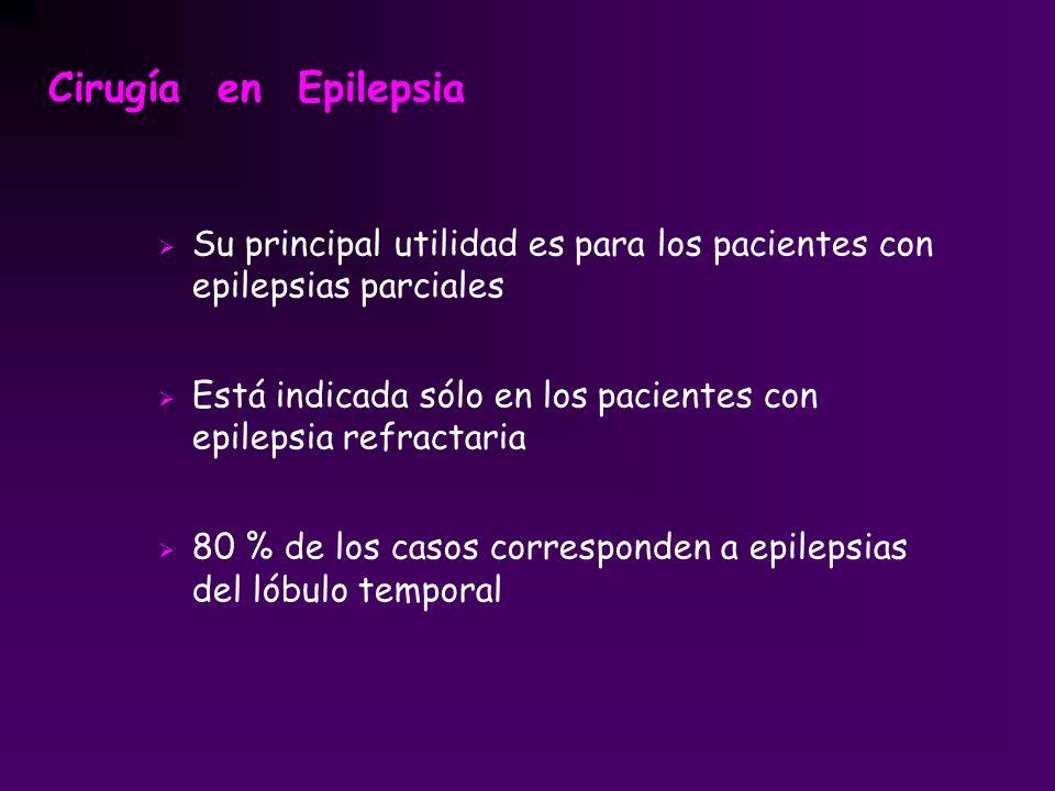 Su principal utilidad es para los pacientes con epilepsias parciales Está indicada sólo en los pacientes con epilepsia refractaria 80 % de los casos c