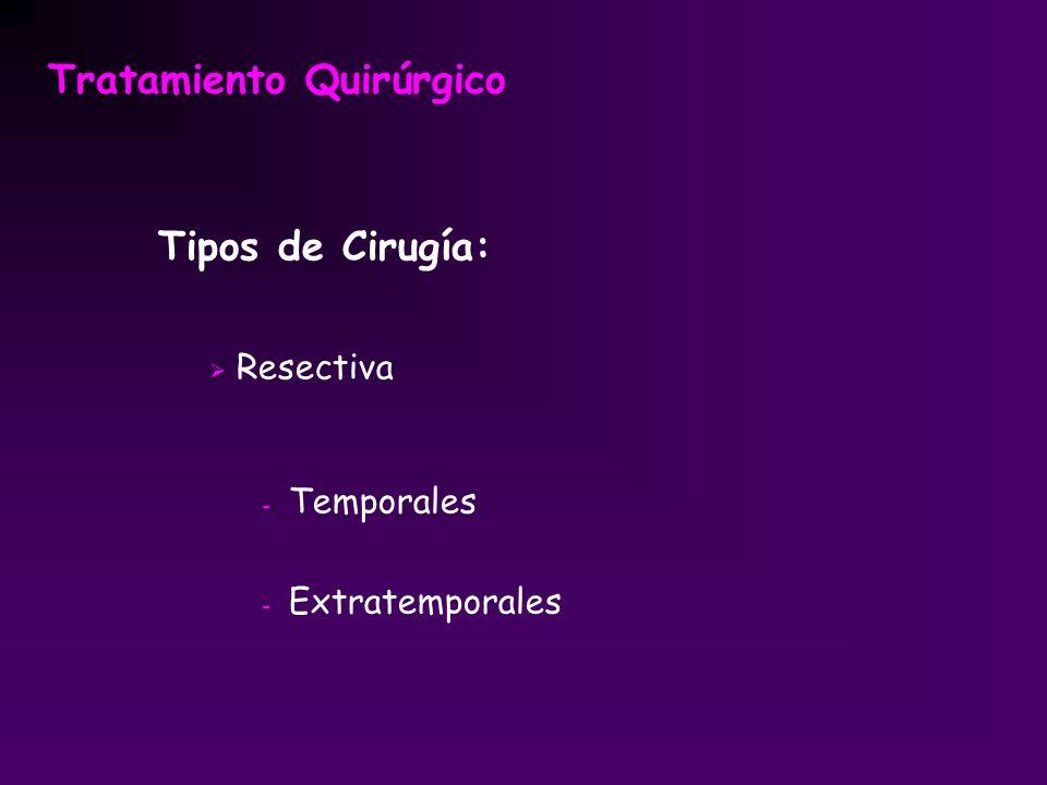 Tratamiento Quirúrgico Tipos de Cirugía: Resectiva - Temporales - Extratemporales
