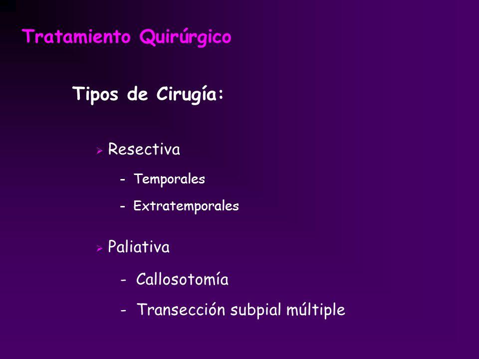Tratamiento Quirúrgico Tipos de Cirugía: Resectiva - Temporales - Extratemporales Paliativa - Callosotomía - Transección subpial múltiple