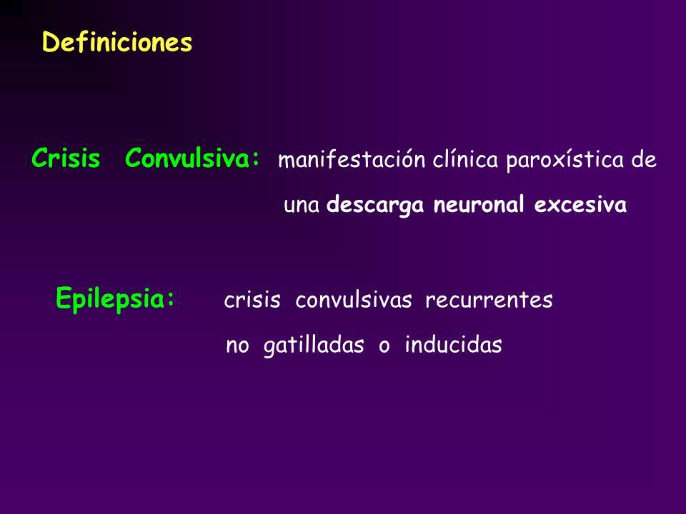Definiciones Crisis Convulsiva: manifestación clínica paroxística de una descarga neuronal excesiva Epilepsia: crisis convulsivas recurrentes no gatil