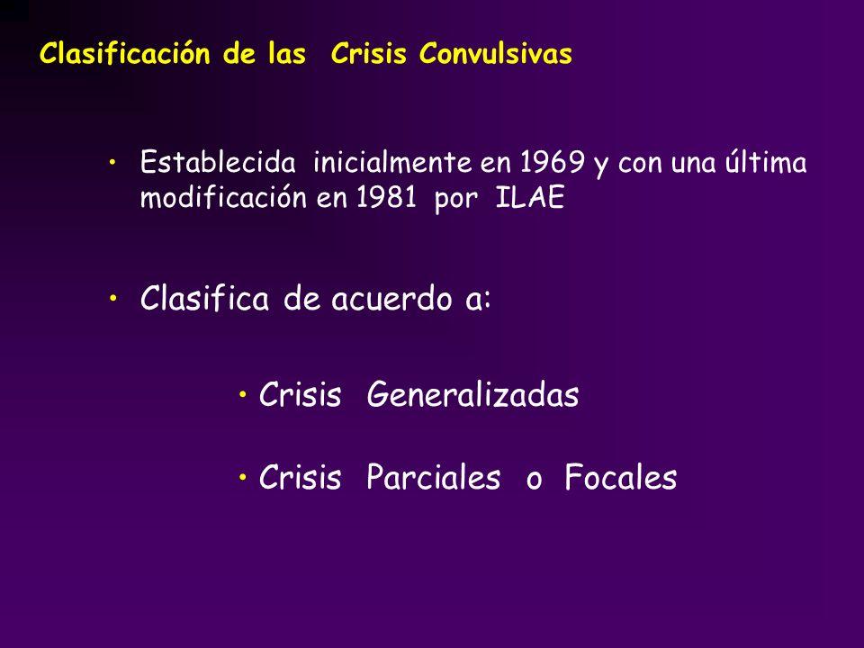Establecida inicialmente en 1969 y con una última modificación en 1981 por ILAE Clasifica de acuerdo a: Crisis Generalizadas Crisis Parciales o Focale