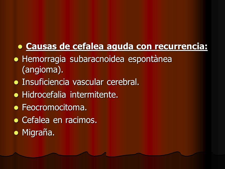 Causas de cefalea aguda con recurrencia: Causas de cefalea aguda con recurrencia: Hemorragia subaracnoidea espontànea (angioma). Hemorragia subaracnoi