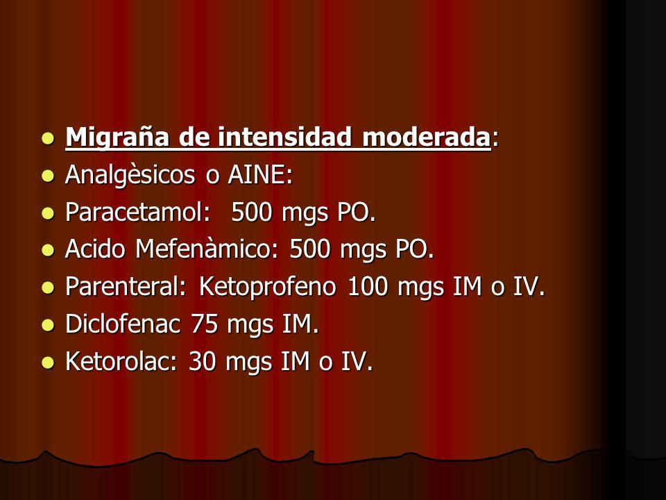 Migraña de intensidad moderada: Migraña de intensidad moderada: Analgèsicos o AINE: Analgèsicos o AINE: Paracetamol: 500 mgs PO. Paracetamol: 500 mgs