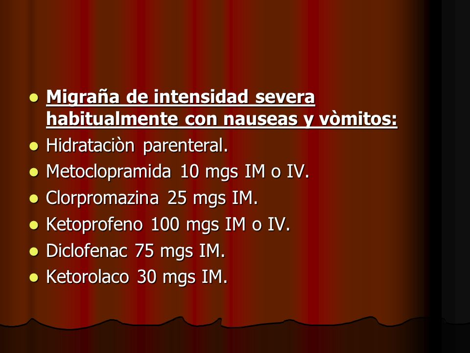 Migraña de intensidad severa habitualmente con nauseas y vòmitos: Migraña de intensidad severa habitualmente con nauseas y vòmitos: Hidrataciòn parent