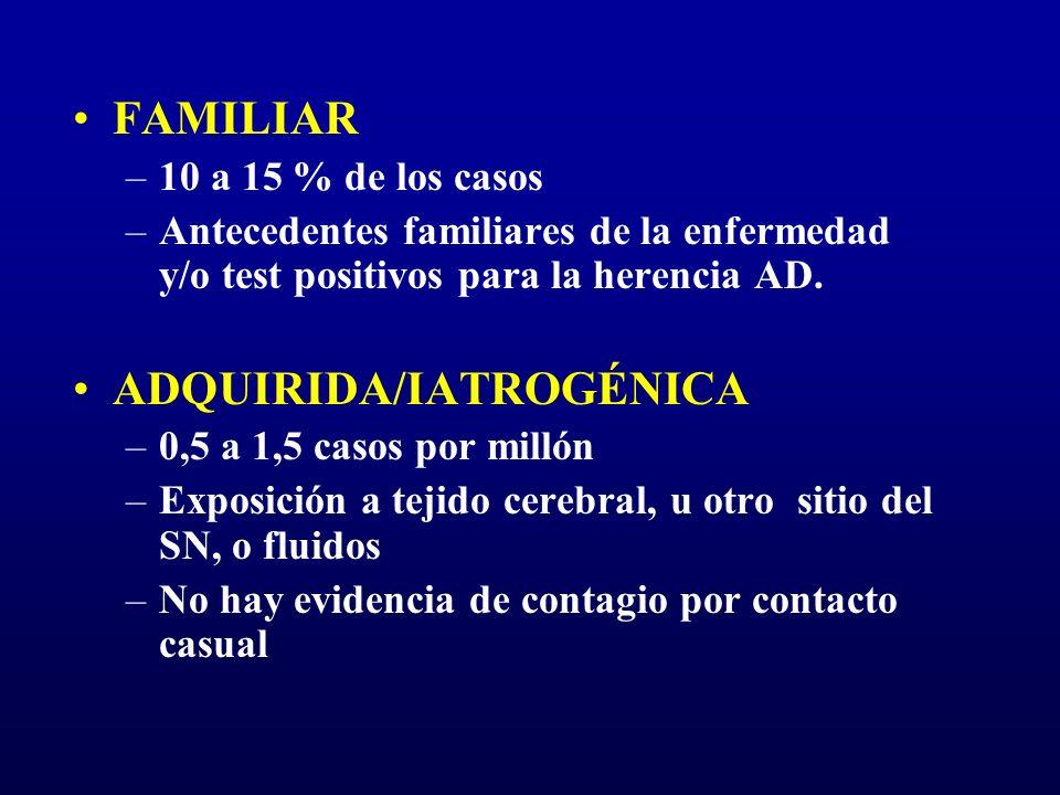 FAMILIAR –10 a 15 % de los casos –Antecedentes familiares de la enfermedad y/o test positivos para la herencia AD. ADQUIRIDA/IATROGÉNICA –0,5 a 1,5 ca