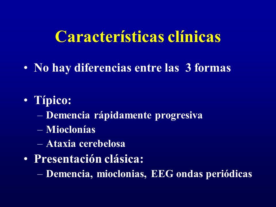 Características clínicas No hay diferencias entre las 3 formas Típico: –Demencia rápidamente progresiva –Mioclonías –Ataxia cerebelosa Presentación cl