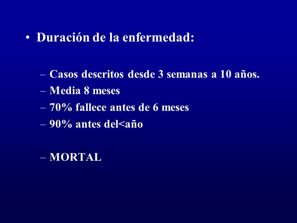Duración de la enfermedad: –Casos descritos desde 3 semanas a 10 años. –Media 8 meses –70% fallece antes de 6 meses –90% antes del<año –MORTAL