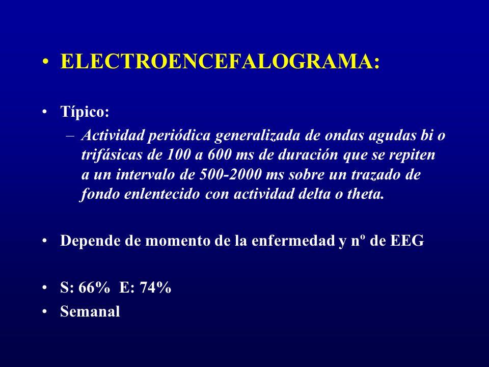 ELECTROENCEFALOGRAMA: Típico: –Actividad periódica generalizada de ondas agudas bi o trifásicas de 100 a 600 ms de duración que se repiten a un interv