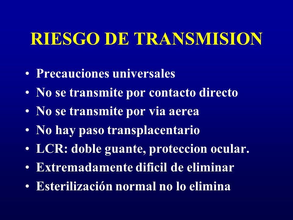 RIESGO DE TRANSMISION Precauciones universales No se transmite por contacto directo No se transmite por via aerea No hay paso transplacentario LCR: do