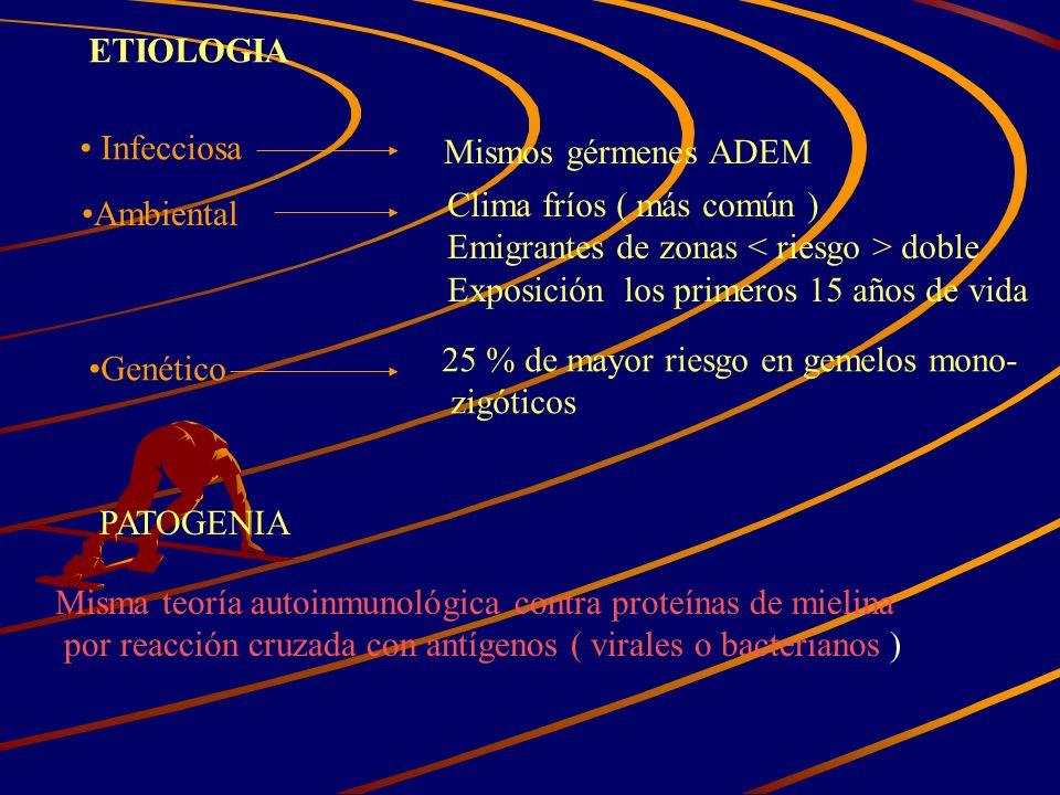 ETIOLOGIA Infecciosa Mismos gérmenes ADEM Ambiental Clima fríos ( más común ) Emigrantes de zonas doble Exposición los primeros 15 años de vida Genéti