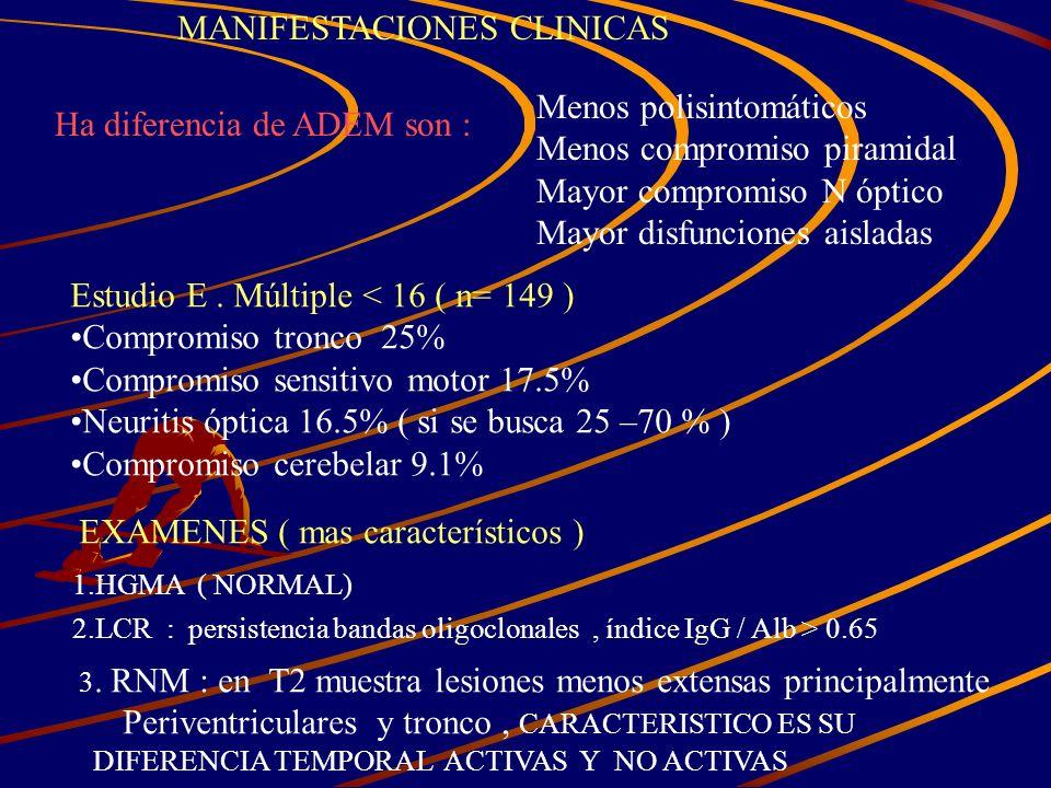 MANIFESTACIONES CLINICAS Ha diferencia de ADEM son : Menos polisintomáticos Menos compromiso piramidal Mayor compromiso N óptico Mayor disfunciones ai
