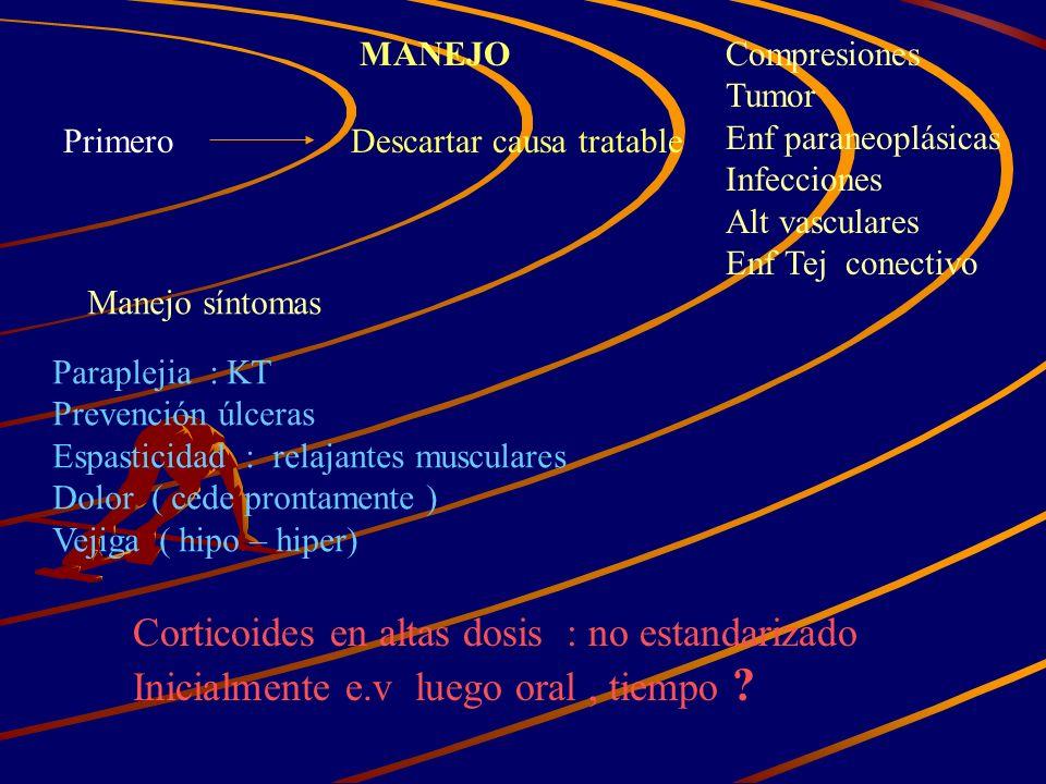MANEJO PrimeroDescartar causa tratable Compresiones Tumor Enf paraneoplásicas Infecciones Alt vasculares Enf Tej conectivo Manejo síntomas Paraplejia