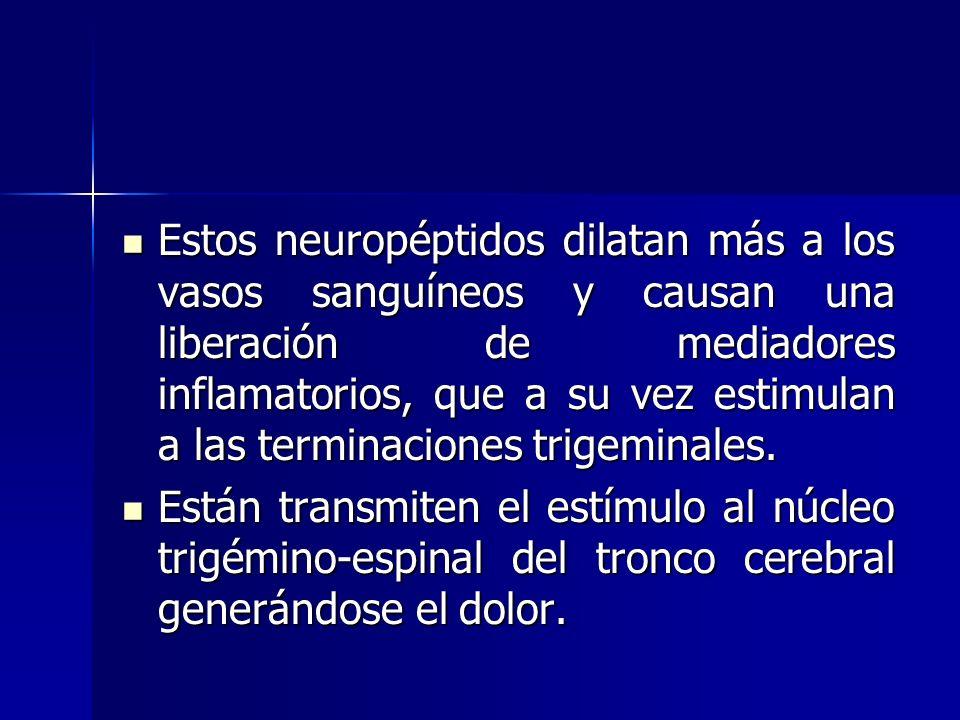 Estos neuropéptidos dilatan más a los vasos sanguíneos y causan una liberación de mediadores inflamatorios, que a su vez estimulan a las terminaciones trigeminales.