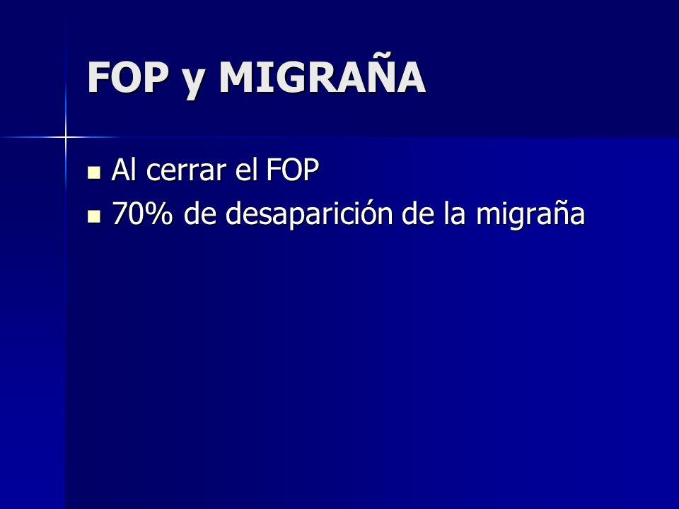 FOP y MIGRAÑA Al cerrar el FOP Al cerrar el FOP 70% de desaparición de la migraña 70% de desaparición de la migraña