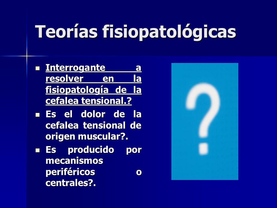 Teorías fisiopatológicas Interrogante a resolver en la fisiopatología de la cefalea tensional..