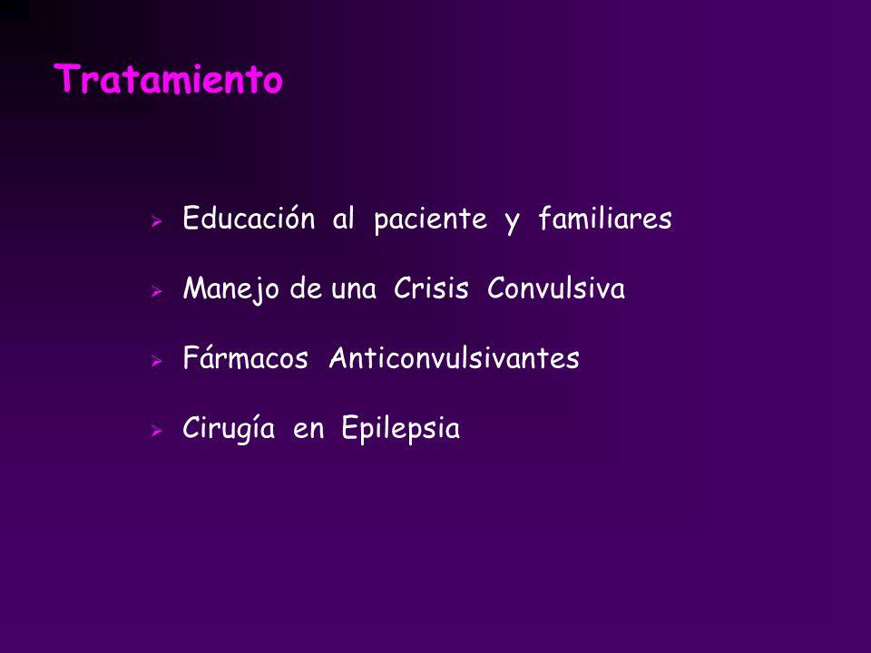 Tratamiento Educación al paciente y familiares Manejo de una Crisis Convulsiva Fármacos Anticonvulsivantes Cirugía en Epilepsia