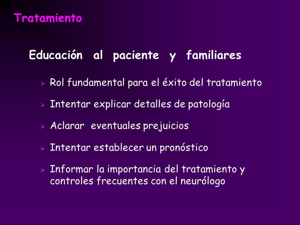Tratamiento Educación al paciente y familiares Rol fundamental para el éxito del tratamiento Intentar explicar detalles de patología Aclarar eventuale