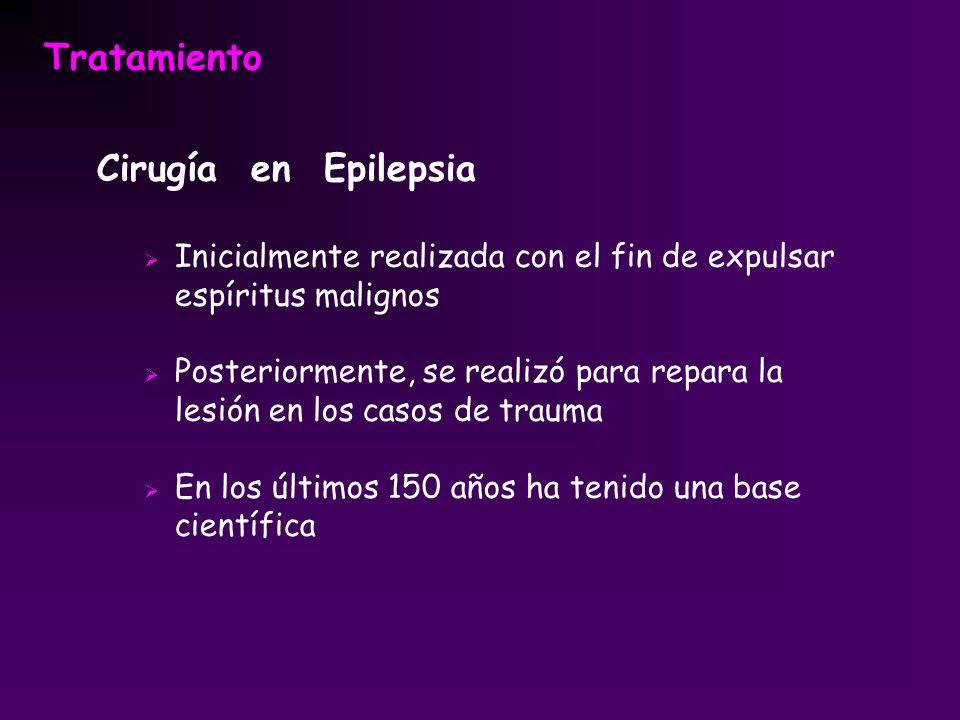 Tratamiento Cirugía en Epilepsia Inicialmente realizada con el fin de expulsar espíritus malignos Posteriormente, se realizó para repara la lesión en