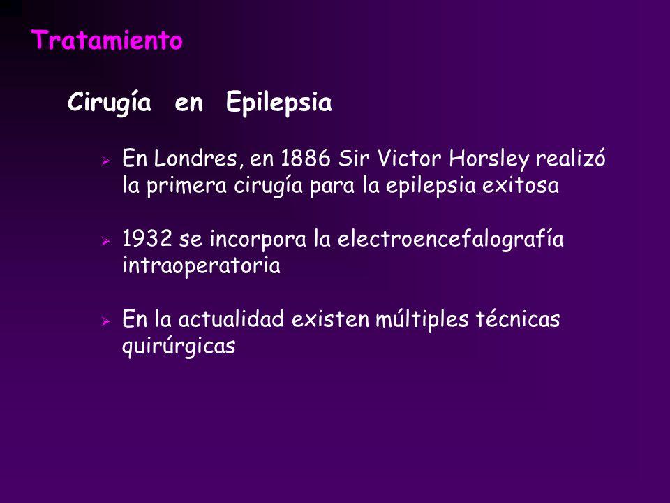 Tratamiento Cirugía en Epilepsia En Londres, en 1886 Sir Victor Horsley realizó la primera cirugía para la epilepsia exitosa 1932 se incorpora la elec