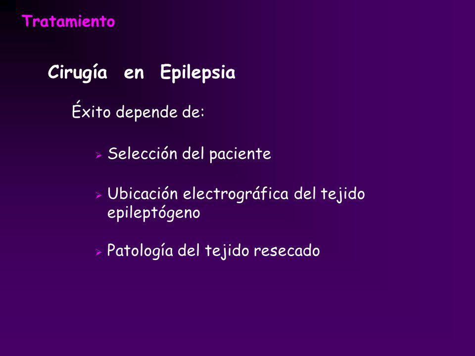 Cirugía en Epilepsia Éxito depende de: Selección del paciente Ubicación electrográfica del tejido epileptógeno Patología del tejido resecado
