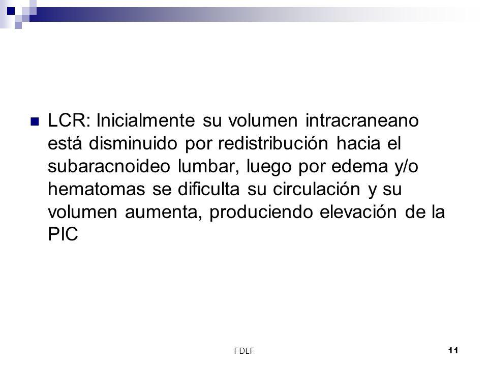 FDLF11 LCR: Inicialmente su volumen intracraneano está disminuido por redistribución hacia el subaracnoideo lumbar, luego por edema y/o hematomas se d