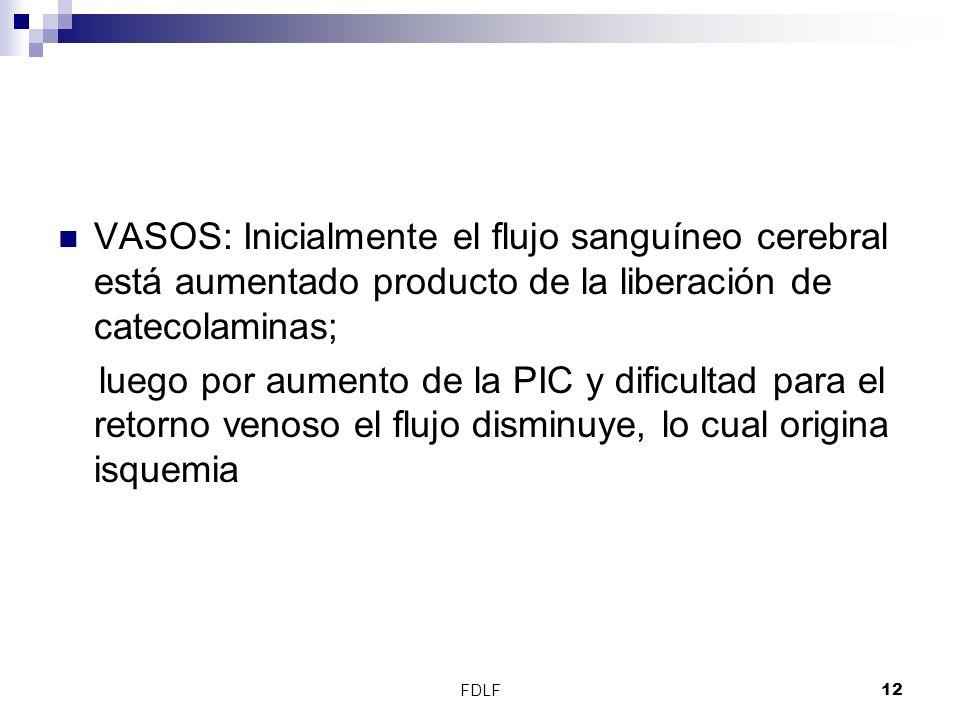 FDLF12 VASOS: Inicialmente el flujo sanguíneo cerebral está aumentado producto de la liberación de catecolaminas; luego por aumento de la PIC y dificu