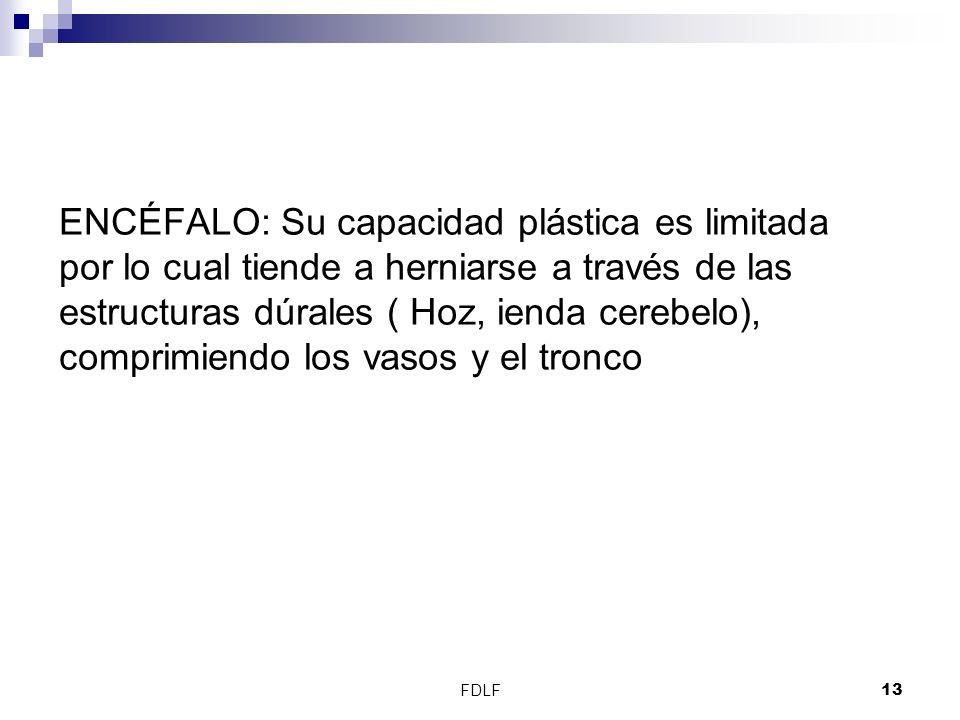 FDLF13 ENCÉFALO: Su capacidad plástica es limitada por lo cual tiende a herniarse a través de las estructuras dúrales ( Hoz, ienda cerebelo), comprimi