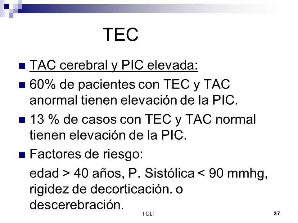 FDLF37 TEC TAC cerebral y PIC elevada: 60% de pacientes con TEC y TAC anormal tienen elevación de la PIC. 13 % de casos con TEC y TAC normal tienen el
