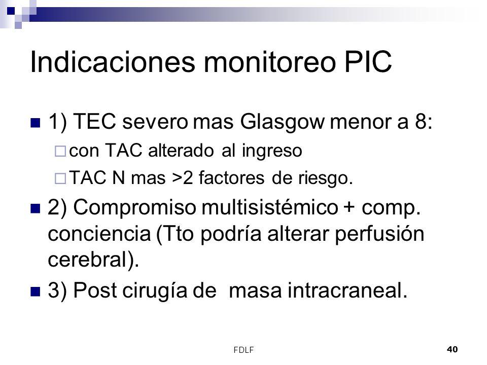 FDLF40 Indicaciones monitoreo PIC 1) TEC severo mas Glasgow menor a 8: con TAC alterado al ingreso TAC N mas >2 factores de riesgo. 2) Compromiso mult