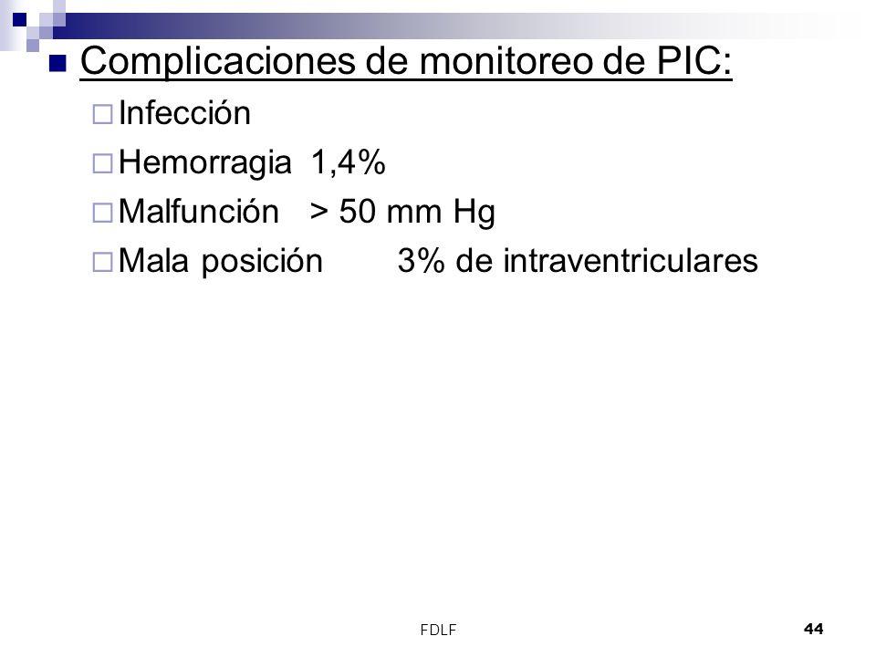 FDLF44 Complicaciones de monitoreo de PIC: Infección Hemorragia1,4% Malfunción> 50 mm Hg Mala posición3% de intraventriculares