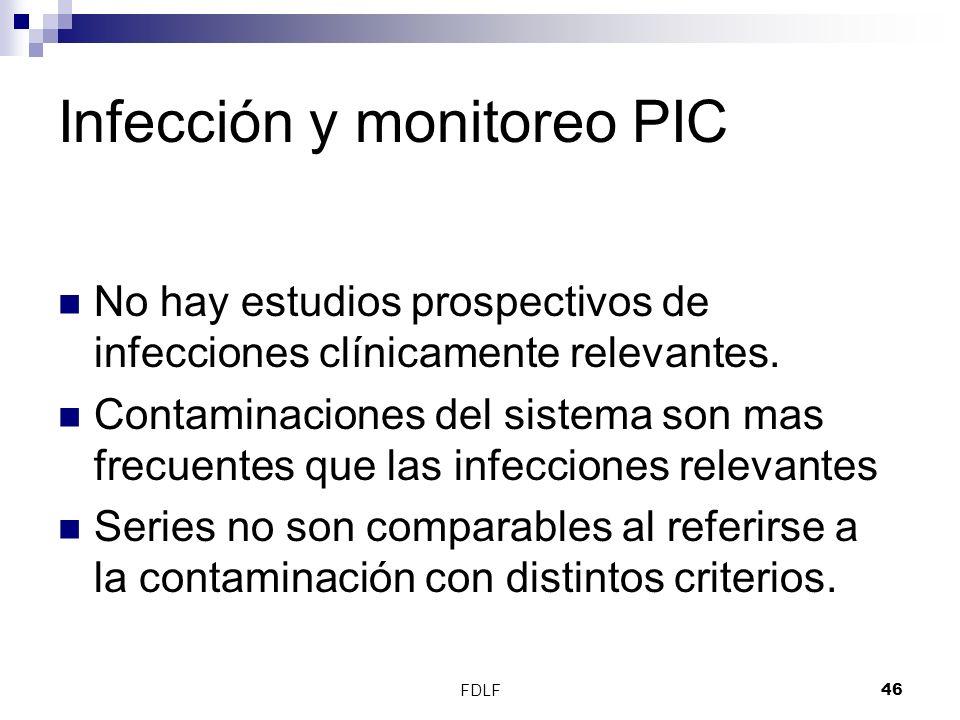 FDLF46 Infección y monitoreo PIC No hay estudios prospectivos de infecciones clínicamente relevantes. Contaminaciones del sistema son mas frecuentes q